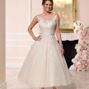 Stella York Champagne Tea Length Wedding Gown